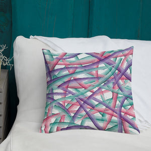 Abstract Multi Color Brush Strokes Premium Pillow - Pink Purple Teal