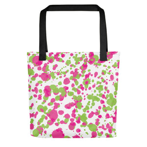 Paint Splatter Tote Bag - Pink & Green