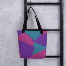 Load image into Gallery viewer, Multi Color Shape Overlay Tote Bag - Purple, Teal, Pink