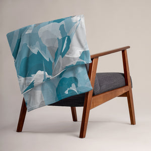 Abstract Watercolor Throw Blanket - Blue & Gray