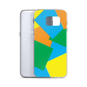 Color Shapes Overlay Pattern - Samsung Case - Blue Orange Yellow