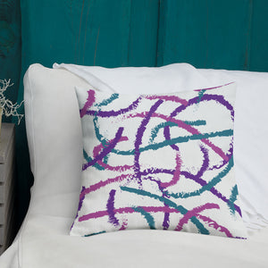 Brush Strokes Purple, Teal, Pink - Premium Throw Pillow