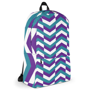 Chevron Pattern Backpack - Purple, Teal, White