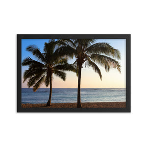 Palm Tree Sunset Hawaii - Framed Print