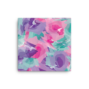Abstract Colorful Watercolor Canvas Print - Purple, Pink, Teal