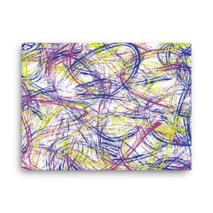 Abstract Thin Brush Canvas - Bright Yellow, Blue, Pink