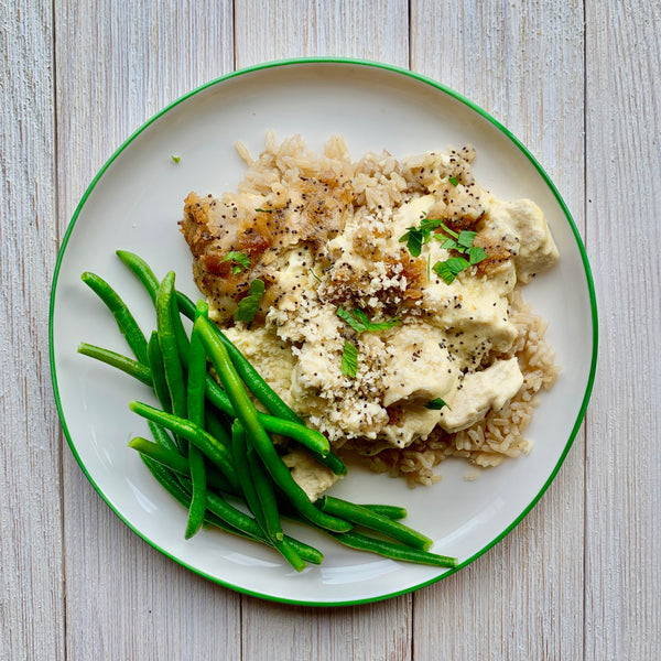 FAMILY MEAL - Ashley Mac's Poppyseed Chicken, Lemon Parsley Rice, Green Beans & Energy Bites