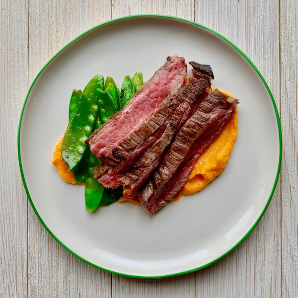 Flank Steak with Carrot Puree and Brussels Sprouts (GF)