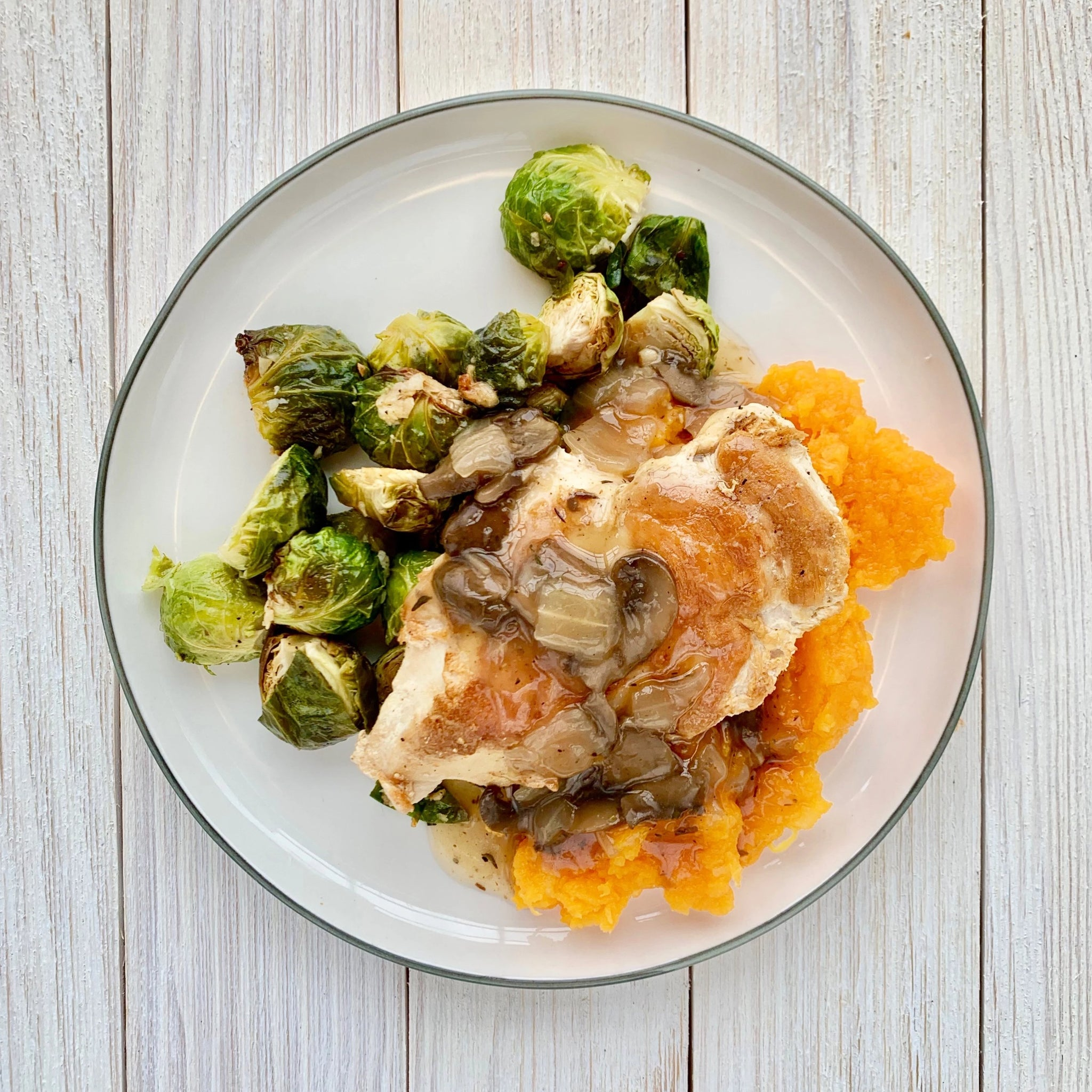 Chicken Marsala with Mashed Butternut and Roasted Brussels Sprouts