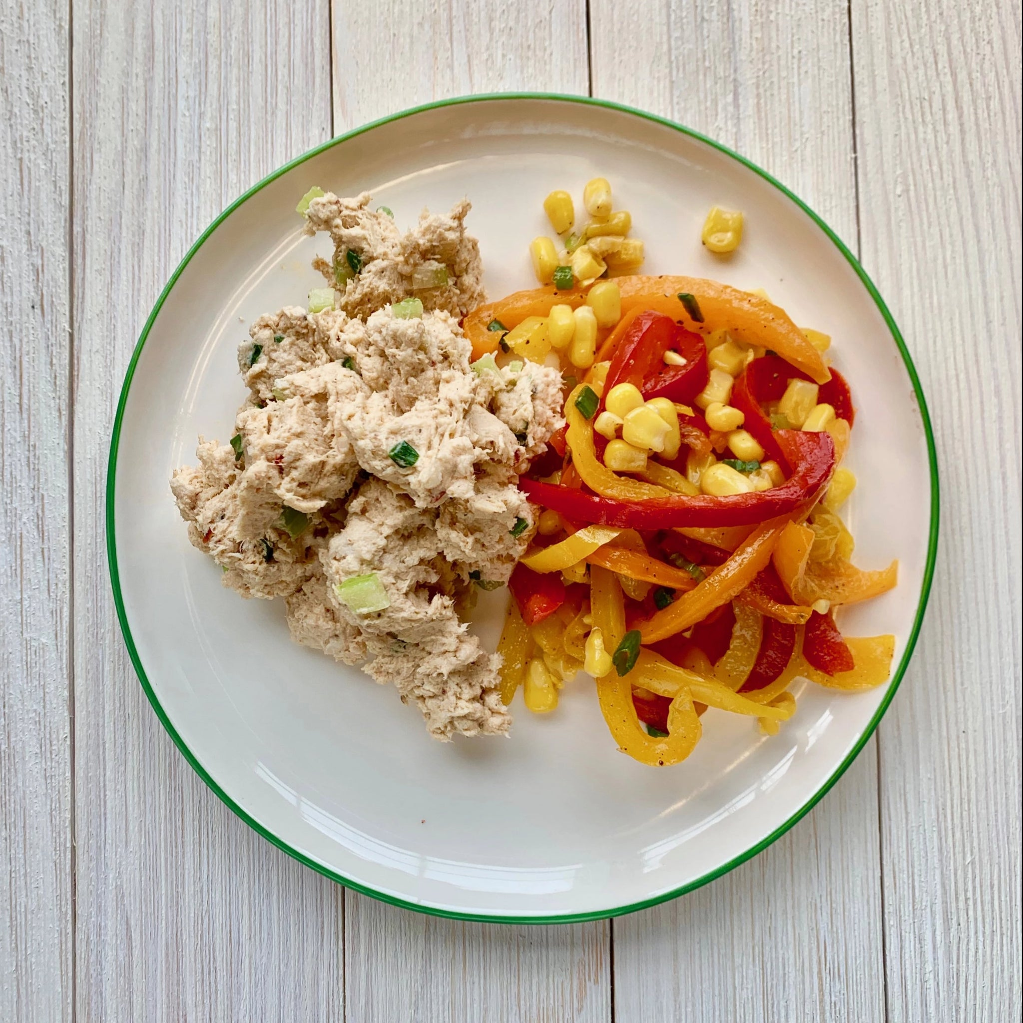 Chipotle Ranch Chicken Salad with Corn & Bell Pepper Salad