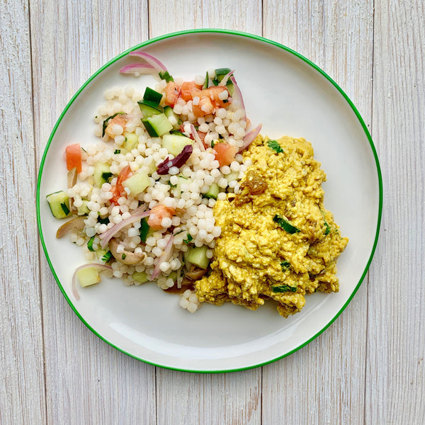 Curry Chicken Salad with Moroccan Couscous Salad