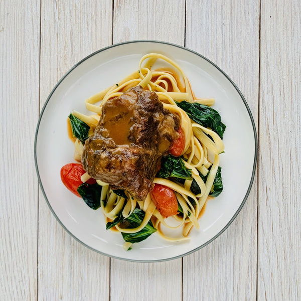 Parmesan Short Rib Pasta with Blistered Tomatoes & Greens