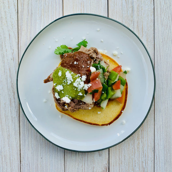 Pork with Mole Sauce, Masa Cakes and Tomatillo Salsa