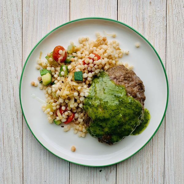 Lamb Burger with Mint Chimichurri and Moroccan Couscous Salad
