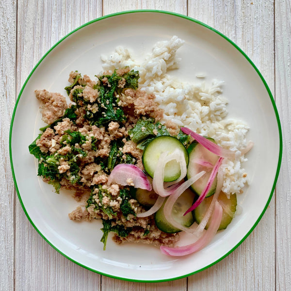 Lemongrass Turkey Larb with Coconut Rice