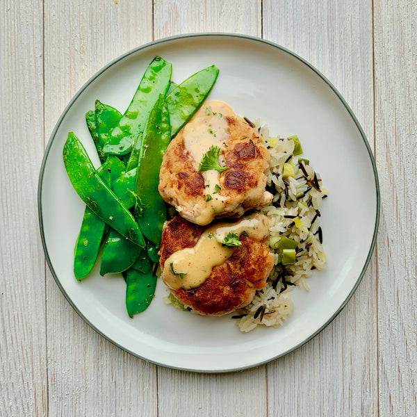 Salmon Cakes with Spicy Remoulade, Wild Rice Pilaf and Snow Peas