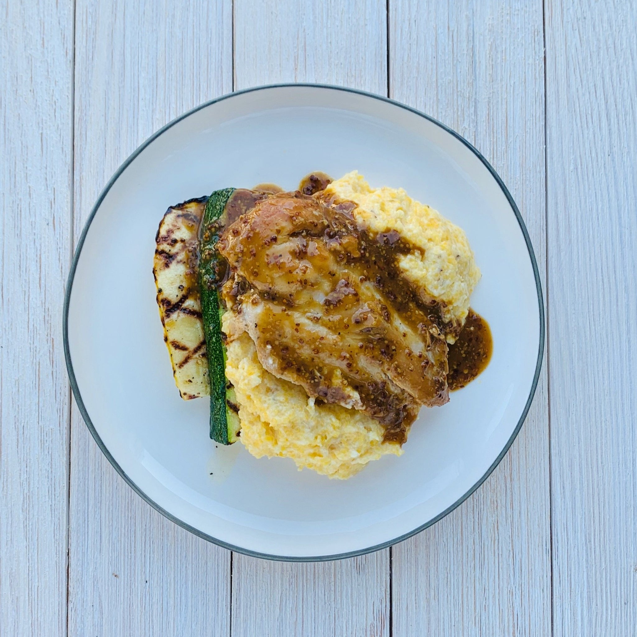 Sorghum Mustard Chicken over Grits with Grilled Squash (GF)