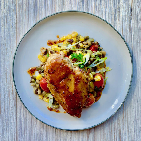 Sorghum Mustard Chicken with Pink Eyed Pea Succotash