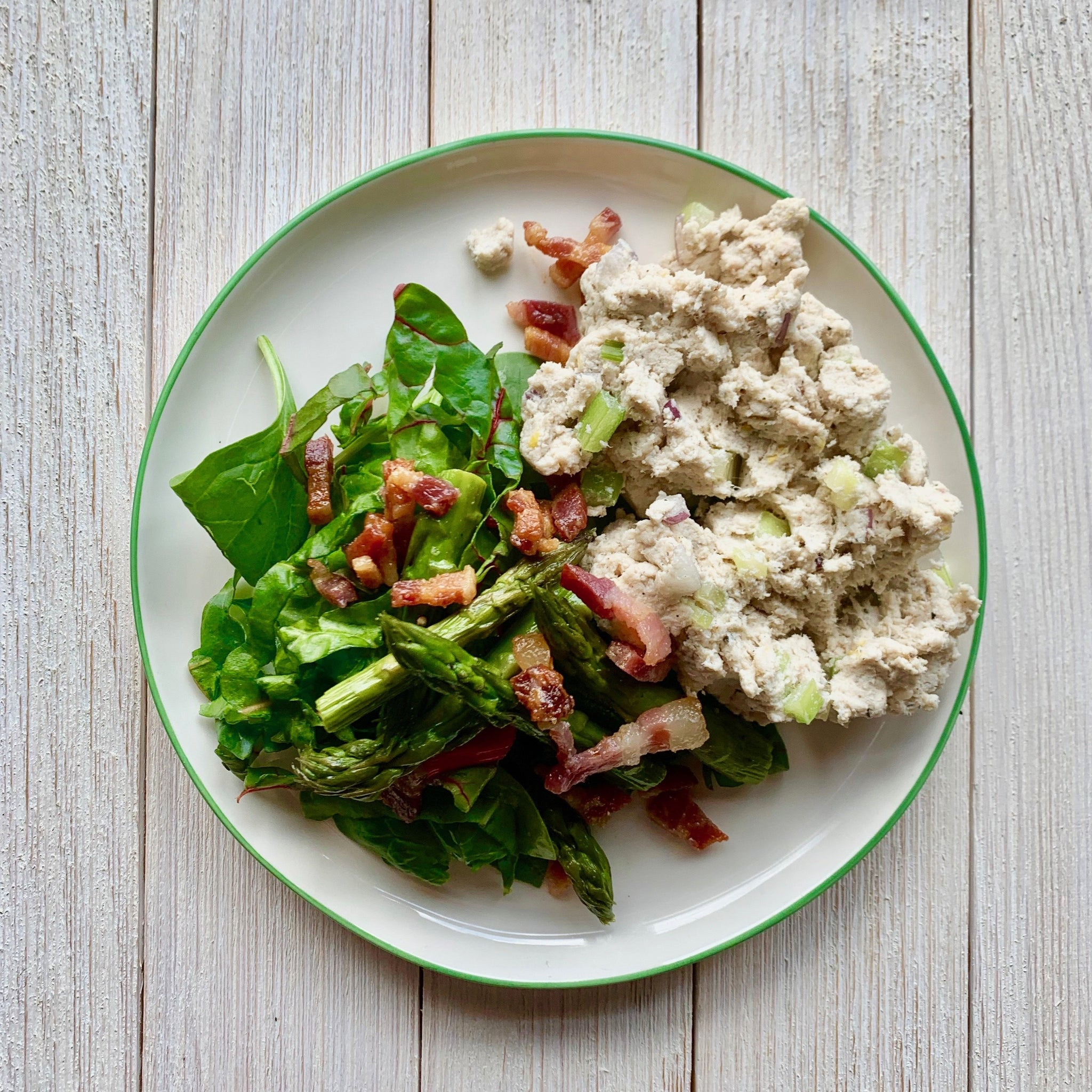 Traditional Chicken Salad with Asparagus Prosciutto Salad
