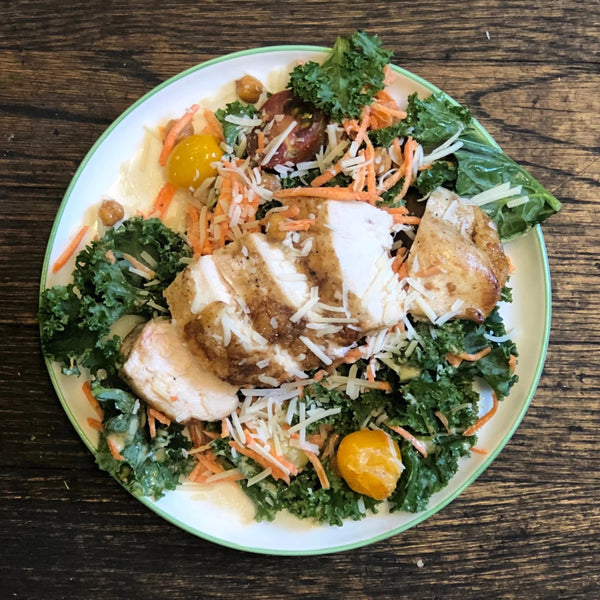 Kale Caesar Salad with Chicken