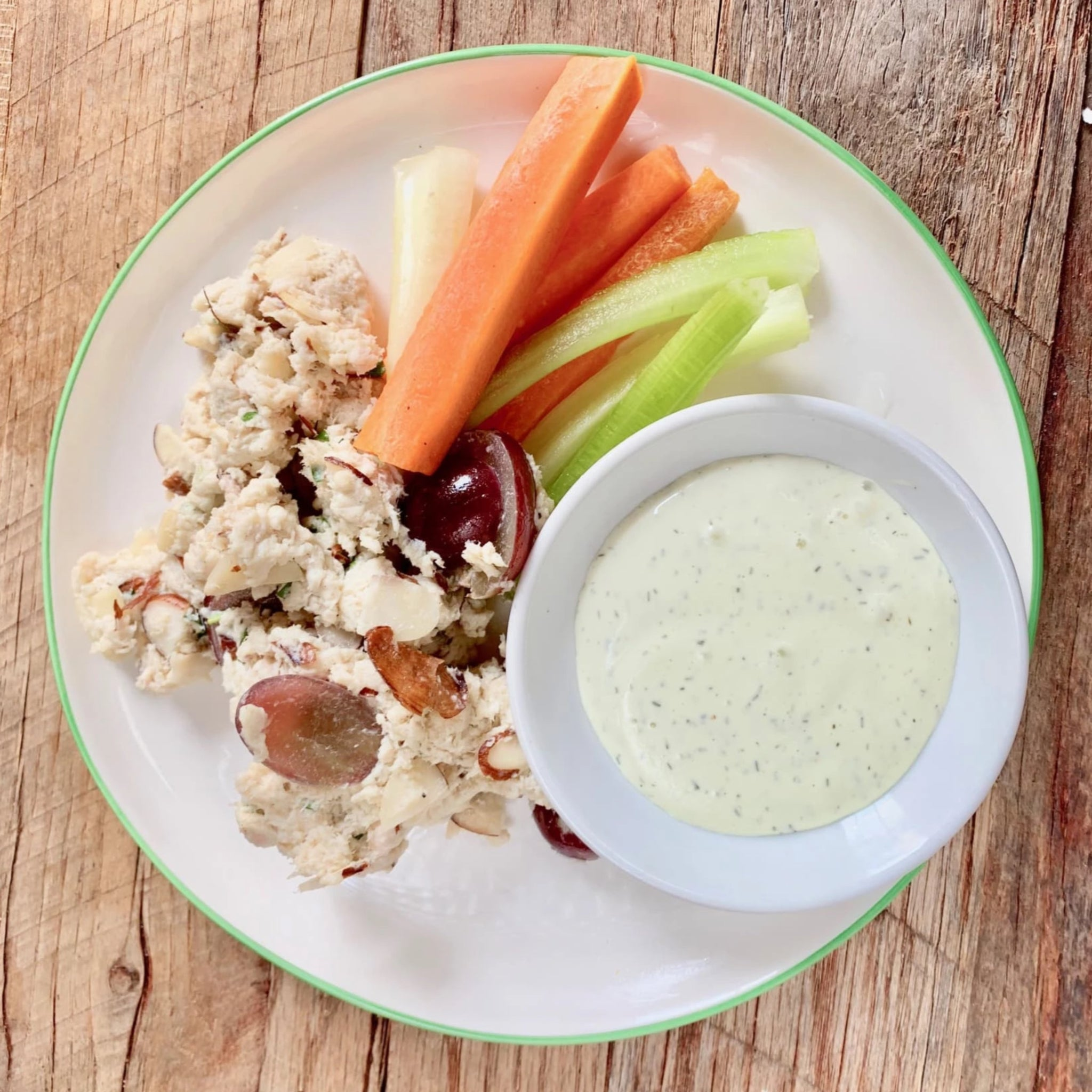 Grape and Almond Chicken Salad with Veggie Dippers and Nourish Ranch