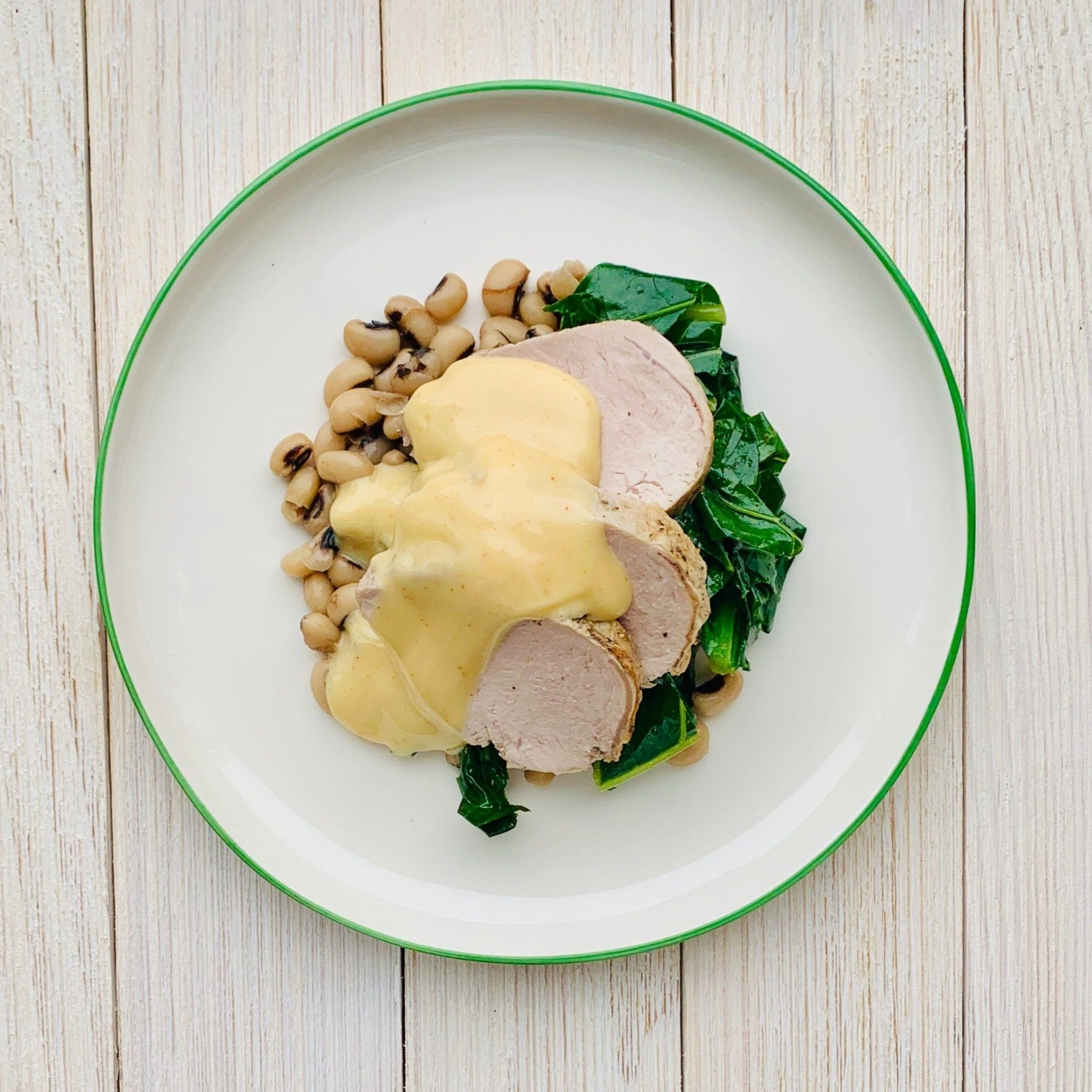 Smoked Pork Tenderloin with Collard Greens & Black Eyed Peas (GF)