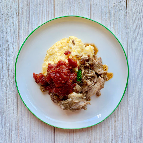Pulled Pork over Stone Ground Grits with Tomato Jam (GF)
