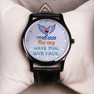 "Flukey ""Whale Watch"" 30M H2O Proof Quartz W/Black Leather Band (unisex) - flukeylife, flukey"