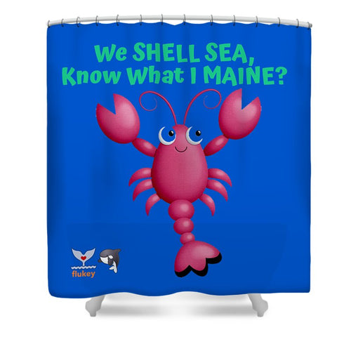 Flukey Maine LOBSTER Shower Curtain in Super Fiji Blue - flukeylife, flukey