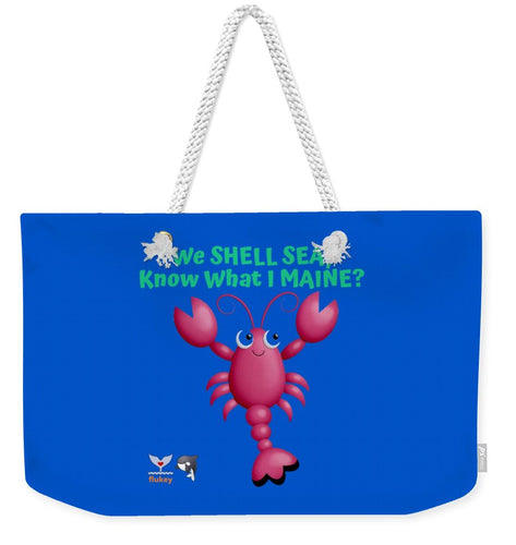 Flukey Maine LOBSTER Weekender Tote Bag in Super Fiji Blue - flukeylife, flukey