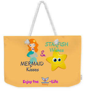 Flukey Mermaid Kisses Weekender Tote Bag in Island Mango - flukeylife, flukey