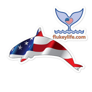 Flukey Orca USA Flag Sticker