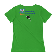 Ladies' Flukey Family FISHING Scoopneck T-Shirt - flukeylife, flukey