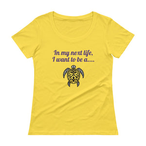 Ladies' Next Life SEA TURTLE Scoopneck T-Shirt - flukeylife, flukey
