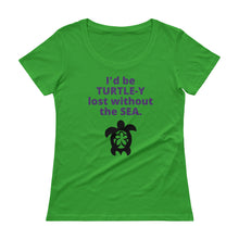 Ladies' TURTLE-Y Lost Scoopneck T-Shirt - flukeylife, flukey