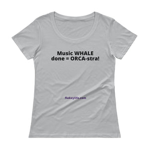 Ladies' ORCA-stra Scoopneck T-Shirt w/tear away label. - flukeylife, flukey