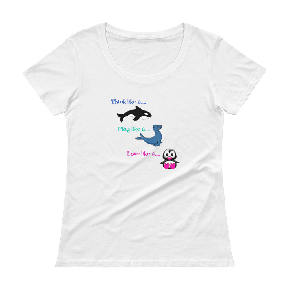 Ladies' ORCA SEAL PENGUIN Scoopneck T-Shirt - flukeylife, flukey