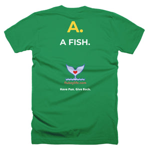Men's Q&A Fish Short-Sleeve T-Shirt Made in USA. - flukeylife, flukey