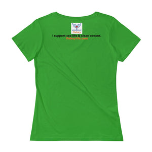 Ladies' HADDOCK Scoopneck T-Shirt w/tear away label. - flukeylife, flukey
