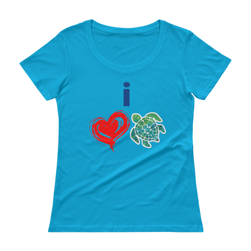 Ladies' #flukeylove TURTLE Scoopneck T-Shirt - flukeylife, flukey