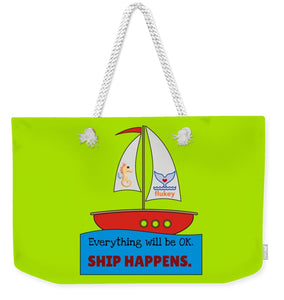 Flukey SHIP Happens. - Weekender Tote Bag in Hyper Kiwi - flukeylife, flukey