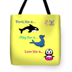 Flukey Think Play Love Tote Bags - flukeylife, flukey