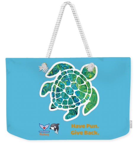 Flukey TURTLE Hpgb Weekender Tote Bag in Bahama Teal - flukeylife, flukey