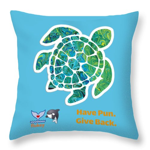 Flukey TURTLE Hpgb Throw Pillows - flukeylife, flukey