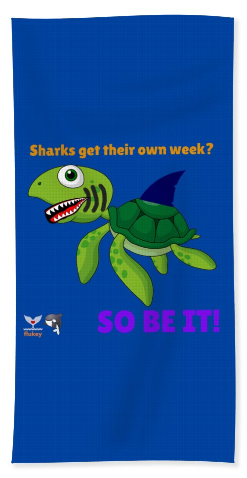 Flukey Turtle Shark Week Beach Towel & Sheet in Protected Reef Blue - flukeylife, flukey