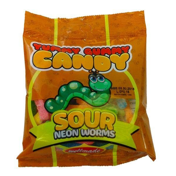 Halal Yummy Gummy Candy Sour Neon Worms - HalalWorldDepot