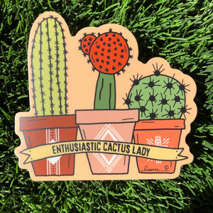 Enthusiastic Cactus Lady Vinyl Sticker
