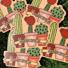 Load image into Gallery viewer, Enthusiastic Cactus Lady Vinyl Sticker
