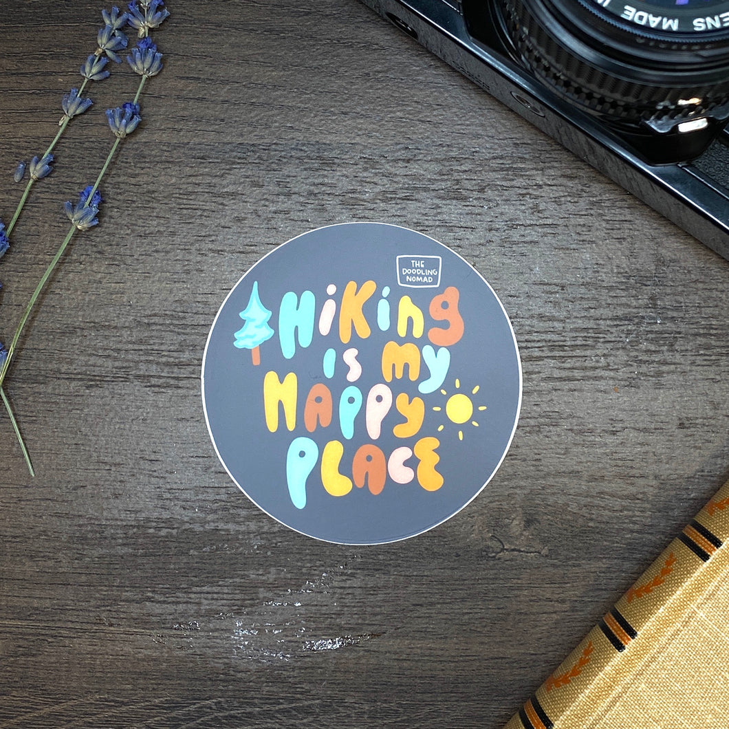 Hiking Is My Happy Place Vinyl Sticker