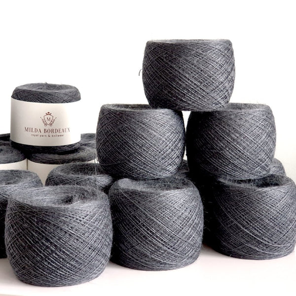 Knitting Yarn by Milda Bordeaux – Silk/Merino/Baby Alpaca - Slate Grey Colour